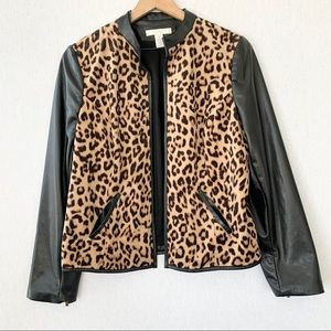 Chicos Animal Print Jacket Faux Leather Sleeves 1